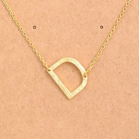 """Jewelry - Letter """"D"""" Sideways Gold Initial Necklace"""
